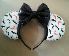 Halloween Minnie Mouse Ears Orange Black Bats Handmade Girls Headband