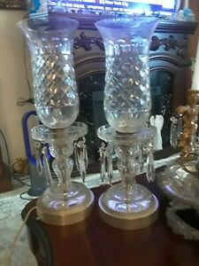 Pair of Vintage Crystal Luster Mantle Lamps with Prisms-Beautiful Estate Pieces