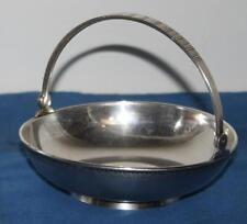 More details for vintage silver plate footed basket bowl with handle - free postage [pl1456]