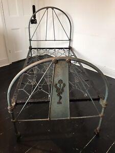 Vintage Antique Iron Single Bed Frame.