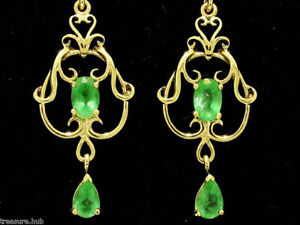 E040 Genuine 9ct SOLID Yellow Gold NATURAL Emerald FILIGREE Earrings Chandelier