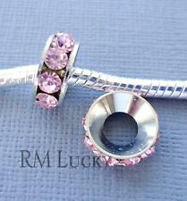 2pcs Pink Crystal Spacer European Charm Large hole Bead. Fit For Bracelet C186
