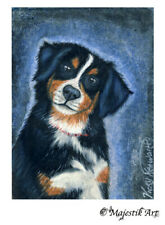 """Sale Bernese Mountain Dog Pet Animal Drawing Aceo Atc """"Hello"""" By V Kenworthy"""