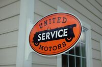 OLD STYLE UNITED SERVICE MOTORS SERVICE GAS & OIL FLANGE SIGN SUPER MADE IN USA!