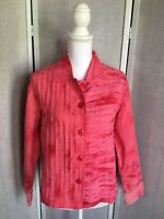 New Direction Women's Medium Pink/Red Tye Dye Strips Button Front Jacket NWT