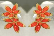 Ohrclips Gold 750 mit Korallen Blumen - Goldohrclips 18 kt mit Koralle Ohrringe
