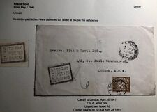 1941 Cardiff Wales England Postage Due Cover To London