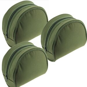 Fishing Reel Case Padded X3 Medium Green Deluxe Coarse Carp Pike Sea Fishing