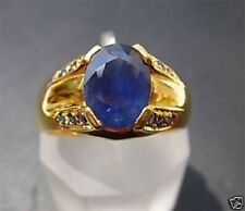 Men's 18K Solid Gold Natural Blue Sapphire Ring