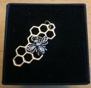 TreeBee Honey Bee on Honeycomb Gold and Silver Necklace with Gift Box