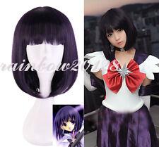 Black Purple Sailor Moon Saturn Hotaru Tomoe Anime Cosplay Wig