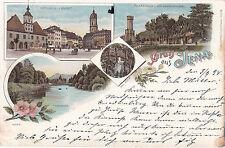 Litho:   Gruss aus Jena, gelaufen 1898, sehr gut erhalten, siehe Scan