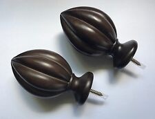 Wamsutta Finials Set of Two 2 Scalloped Ball Finials Expresso Dark Brn NEW