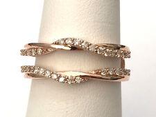 Rose Gold Wave Design Solitaire Enhancer Diamonds Ring Guard Wrap Jacket 0.30ct