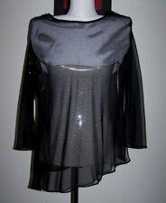 LIZ JORDAN XL (12-14) SHEER BLACK GLITTER BIAS CUT LONG SLEEVE TOP