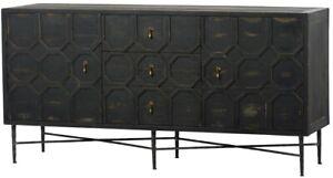 "63"" Gabriella Sideboard Wood Antique Black Finish Two Door Three Drawers"