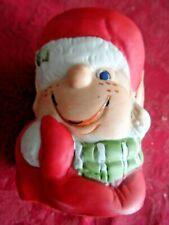 Vintage Bisque Christmas Ornaments - Jasco Bisque Porcelain Elf Candle Holder