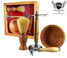 Wooden Barber Shaving Set Pure Badger Brush, Cut throat Style Razor, Stand & Box