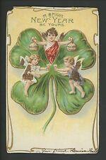 New Year postcard Cherubs Toasting Money Bags 4 Leaf Clover Glitter Embossed