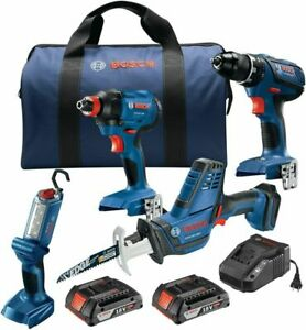 Bosch GXL18V-496B22 18V 4-Tool Combo Kit with Compact Tough 1/2 In....