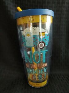 Tervis 24 oz Tumbler - Camper- Not All Who Wander Are Lost - Rustic w/ New Straw