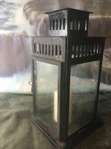 Square LANTERN with Candle Used 18 Inch High 9 Inch Square Glass And Tin