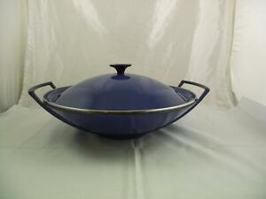 Le Creuset Cast Iron Wok 36cm Blue With Lid