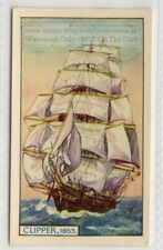 "1853 ""Clipper"" 3 Masted Square Rigged Sailing Ship  75+ Y/O Ad Card"