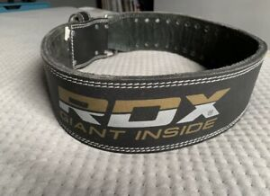 RDX 4 inch Leather Weightlifting Gym Belt - Large