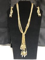 Vtg NOS Gold Tone Multi Strand Tassel Choker Necklace & Earrings Demi Set BOLD