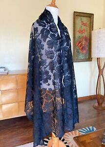 Antique French Chantilly Lace Shawl Long Floral Border Picot Edge France Label
