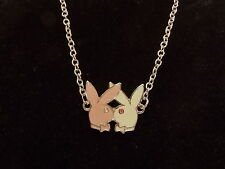 New Necklace. Swarovski Crystals.Pink & White Bunnies Genuine Playboy Jewellery
