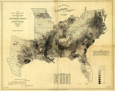 1860 Slave Population Southern US Census Map Slavery Civil War Home School 11x14