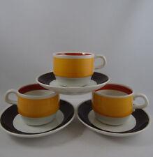 3 Vintage Rorstrand Fokus Cups & Saucers Carl Harry Stalhane Sweden