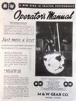 M&W Hand Clutch Live PTO Pow'r IH Farmall M MD MV MVD Owners Operator's Manual