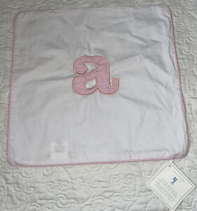 Pottery Barn Kids letter applique a pillow white pink cover NWT 16x16