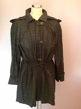 VINTAGE JAEGER GREEN CHECK HOODED COTTON JACKET SIZE S