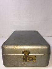 Vintage Hammered File Box Metal Steel Index Card Business Recipe 12 X 75 X 4