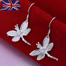 925 Sterling Silver plated Dragonfly Earrings with Crystal Dangle Drop UK
