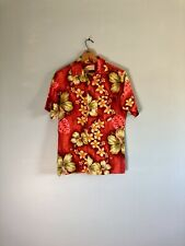 52f7bdeda Vtg 50s Red Orange Green Hibiscus Tropical Floral Aloha Royal Hawaiian Shirt  S
