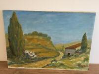 tableau ancien huile sur toile marouflé sur panneau M?YG?E (XX) paysage