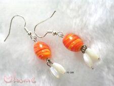 Women New Oriental Handmade Chinese Lazurite Orange Angel Fish Hooks Earrings