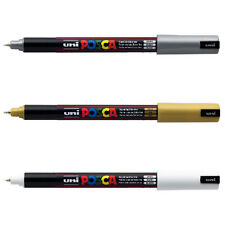 3 x Uni Posca PC-1MR Paint Marker Pen - Set of White, Gold and Silver -1 of each