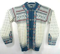 VTG Dale Of Norway Sz 40 S/M 100% Pure New Wool Blue Red Metal Clasps Fair Isle