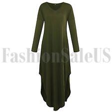 Para mujeres Informal Suelta Bolsillo Largo Vestido Maxi Vestido Manga Larga dividida de 3 Colores