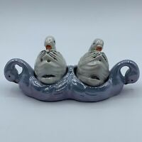 Vintage Japan Blue Lusterware Swan Salt Pepper Shaker And Caddy Set