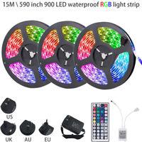 15M 49FT 3528 SMD RGB 900LEDs LED Light Strip+44Key Remote Control+12V US Power