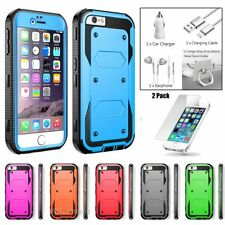 iPhone 5 5S SE Hybrid Rugged Rubber Hard Shockproof Case Cover +Tempered Glass