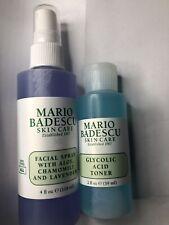 Mario Badescu Lavender Facial Spray 4 oz. & Glycolic Toner 2 oz. New without Box
