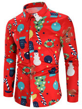 Christmas Men'S Theme Button Up Xmas Casual Shirts Slim Long Sleeve Dress Tops